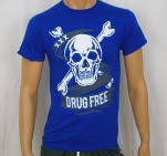 1981 Straight Edge Clothing Drug Free Skull Blue T-Shirt