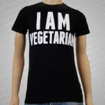 1981 Vegan and Vegetarian I Am Vegetarian Black T-Shirt
