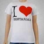 1981 Vegan and Vegetarian I Heart Vegetarians White T-Shirt