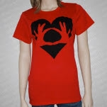 3OH3 Hands in Heart Red T-Shirt