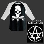 official Allegaeon Skull BlackWhite Baseball T-Shirt