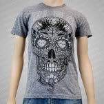 A Plea For Purging Sugar Skull Heather Gray T-Shirt