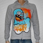Artist vs Poet Ghost Heather Gray Hoodie Zip
