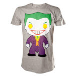 Batman Joker Basic Character Art Grey T-Shirt
