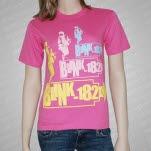 Blink 182 3 Logos Pink T-Shirt
