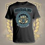 Booze  Glory Only Fools Get Caught Black T-Shirt