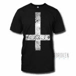 Bruised But Not Broken Cross Black T-Shirt