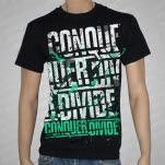 Conquer Divide GreenWhite Logo Black T-Shirt