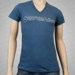 Doughnut Plant Logo V Neck Denim Blue T-Shirt