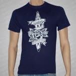 Down To Nothing Knife Flower Navy T-Shirt