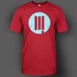 DUSTLA Light Blue Logo on Red T-Shirt