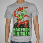 Far From Finished Chainsaw Zombie Heather Gray T-Shirt