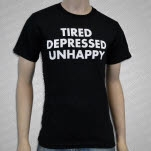 Fiddler Records Tired Depressed Unhappy Black T-Shirt