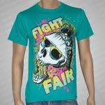 Fight Fair Skull Teal T-Shirt