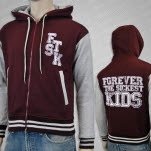 Forever The Sickest Kids Letterman MaroonGrey Hoodie Zip