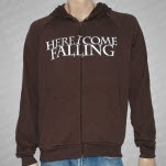 Here I Come Falling Covered Eyes Brown Hoodie Zip