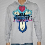 Here I Come Falling Hands and Feet Heather Gray Hoodie Zip