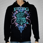 Here I Come Falling Neon Shield Black Hoodie Zip