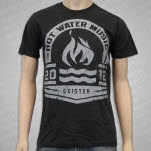Hot Water Music Grey Olympic Logo on Charcoal T-Shirt