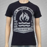 Hot Water Music Grey Olympic Logo on Navy T-Shirt