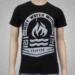 Hot Water Music White Olympic Logo on Black T-Shirt