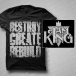 official I Am King Destroy Black T-Shirt