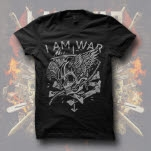 I Am War Winged Skull Black T-Shirt