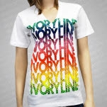 Ivoryline Repeating V Neck White T-Shirt