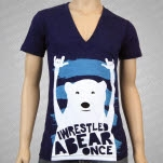 Iwrestledabearonce Bear Rocking Out V Neck Triblend Indigo T-Shirt