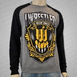 Iwrestledabearonce Late Crest BlackHeather Crewneck Sweatshirt