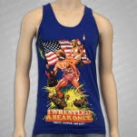 Iwrestledabearonce Truth Justice and Shit Lapis Blue Tank Top