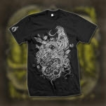 Like Moths To Flames Snakes And Heart Black T-Shirt