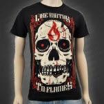 Like Moths To Flames Flame Skull Black T-Shirt