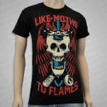 Like Moths To Flames Skull Black T-Shirt