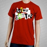 Lotus Tattoo Ransom Note Red T-Shirt