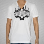 Maylene and the Sons of Disaster Guns Logo White VNeck T-Shirt