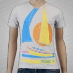 Meg and Dia Sailboat V Neck Vintage White T-Shirt