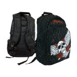 Miami Ink Black Bp Winged Skull Backpack