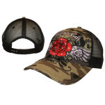 Miami Ink Camo Trucker Red Rose Cap