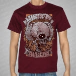 Misery Signals Skull And Leaves Maroon T-Shirt