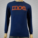 moe Brown Logo on Blue Long Sleeve Shirt
