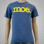 moe Yellow Logo on Denim Blue T-Shirt