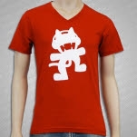 Monstercat Anniversary Logo V Neck Red T-Shirt
