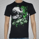 My Hero Is Me T Rex Black T-Shirt