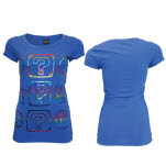 Nintendo Blue Power Ups Foilprint Ladies T-Shirt