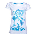 Nintendo White Blue Mario Female T-Shirt