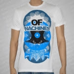 Of Machines Bird Blue on White T-Shirt