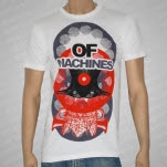 Of Machines Bird Red on White T-Shirt