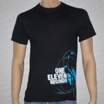 One Eleven Records Headphones Black T-Shirt