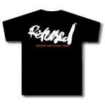 Refused Orange And White Print On Black T-Shirt